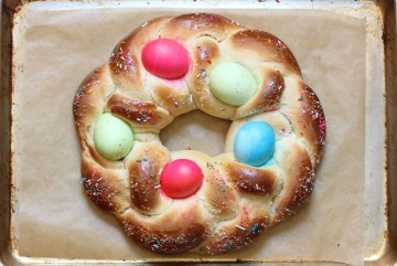 easter bread on sheet pan