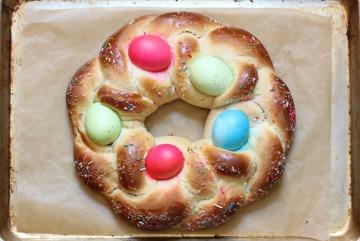 easter bread on sheet pan