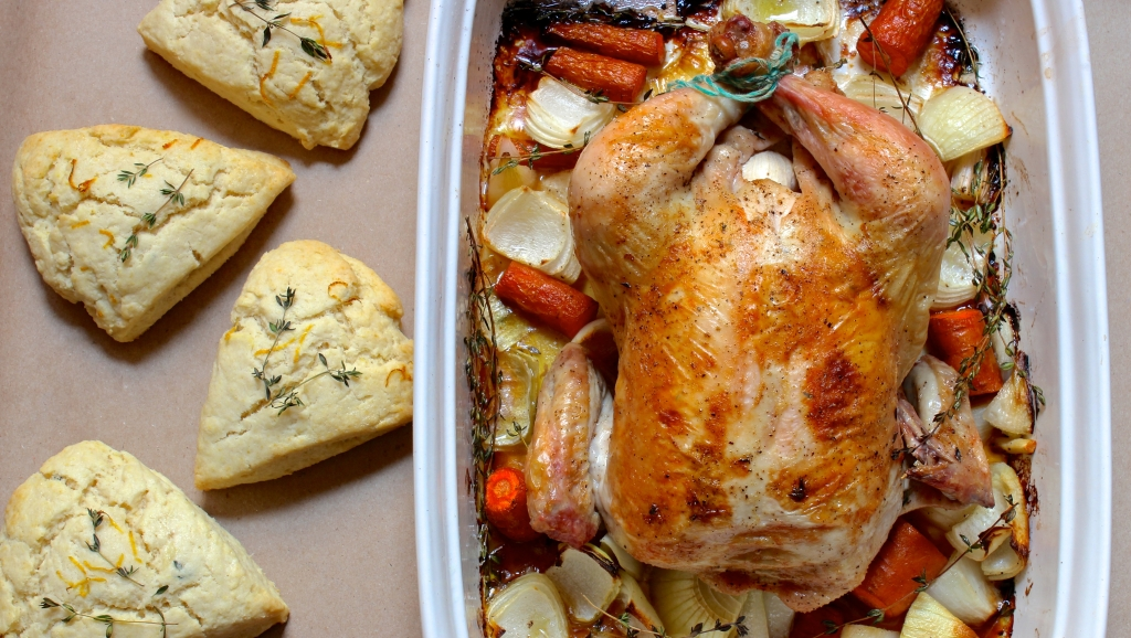 roast chicken and savory scones